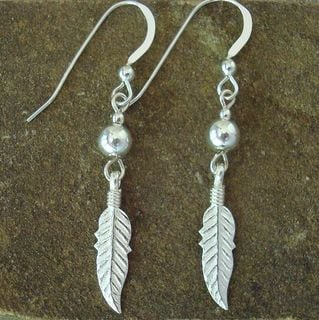 Jewelry by Dawn Sterling Silver Bead With Feather Sterling Silver Earrings
