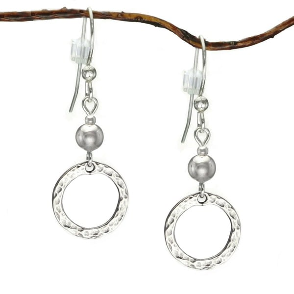 Jewelry by Dawn Sterling Bead With Hammered Circle Sterling Silver Earrings 9855472