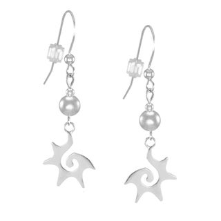 Jewelry by Dawn 5mm Sterling Bead With Starburst Sterling Silver Earrings