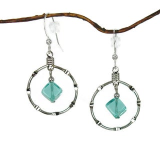 Aqua Silver Notched Hoop Earrings