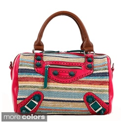 Nicole Lee Naysa Striped Raffia Small Boston Bag