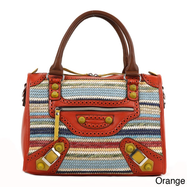 Nicole Lee Naysa Striped Raffia Large Boston Bag