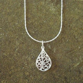 Sterling Silver Boxed Chain Necklace With Filigree Teardrop