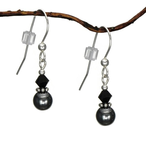 Jewelry by Dawn Small Hematite Double Bead Sterling Silver Earrings 9855614