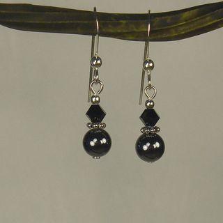 Jewelry by Dawn Hematite Double Bead Sterling Silver Earrings