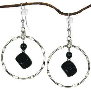 Large Black And Silver Notched Hoop Earrings