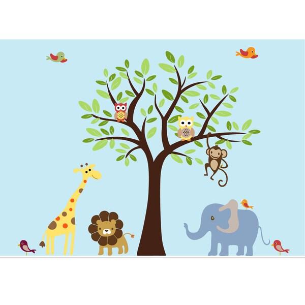 Nursery Wall Art Safari Tree Decal Set