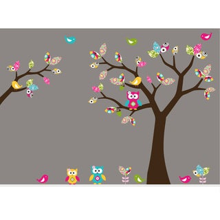 Nursery Wall Art Girl's Leaf Tree Decal Set with Birds, Owls and Flowers
