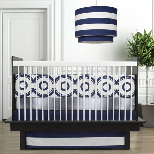 Oilo Wheels Cobalt Blue 3-piece Crib Bedding Set