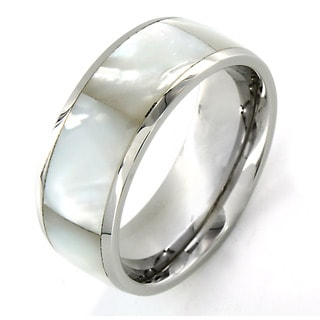 Crucible Stainless Steel Faceted Mother of Pearl Inlay Ring