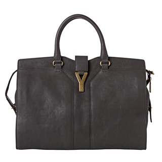 Yves Saint Laurent 'Cabas Chyc' Large Dark Grey Leather Tote Bag