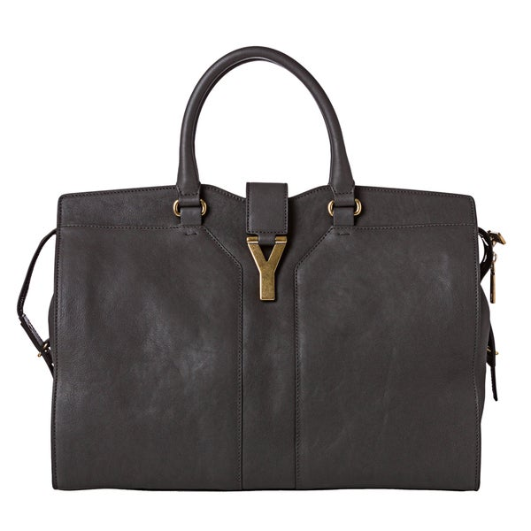 gold ysl clutch - Yves Saint Laurent 'Cabas Chyc' Large Dark Grey Leather Tote Bag ...