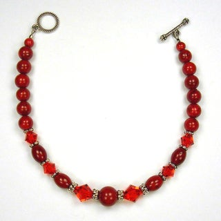 Red Riverstone and Crystal Bracelet