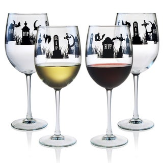 Halloween RIP 19 oz. Wine Glasses in Black, Set of 4