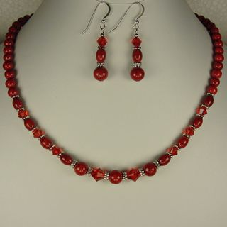 Jewelry by Dawn Red Riverstone With Crystal Necklace And Earring Set
