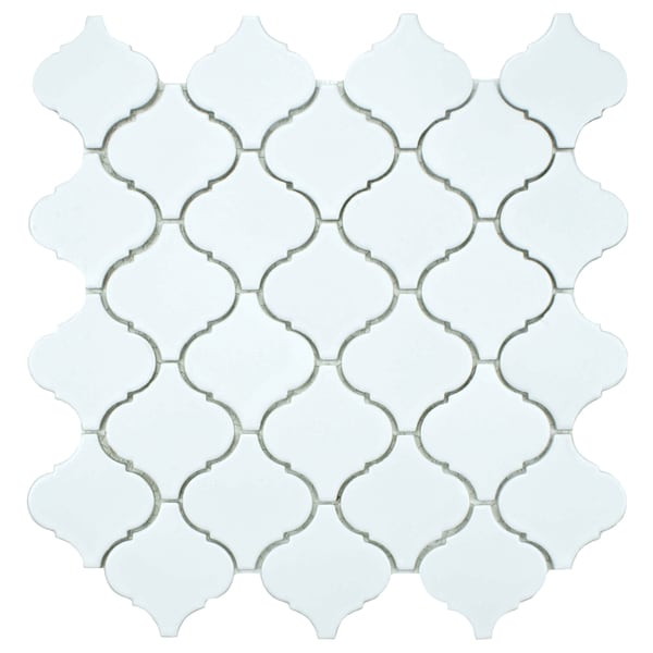 SomerTile 12.5x12.5-inch Morocco Matte White Porcelain Mosaic Tiles (Set of 10)