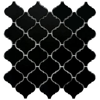 SomerTile 12.5x12.5-inch Morocco Glossy Black Porcelain Mosaic Tiles (Set of 10)