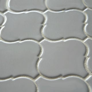 SomerTile 12.5x12.5-inch Morocco Glossy Grey Porcelain Mosaic Tiles (Set of 10)