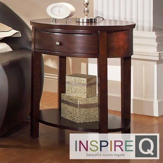 Inspire Q Neo Oval Espresso Accent Table Nightstand
