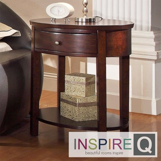 INSPIRE Q Fillmore Espresso Oval Wood Accent Table