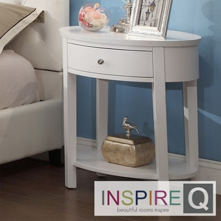 Inspire Q Neo Oval White Accent Table Nightstand