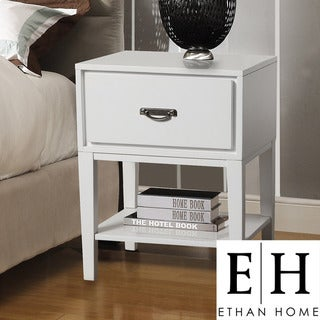 ETHAN HOME Neo Rectangle White Accent Table Nightstand