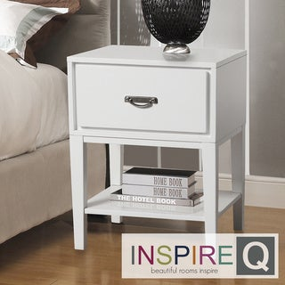 Inspire Q Neo Rectangle White Accent Table Nightstand