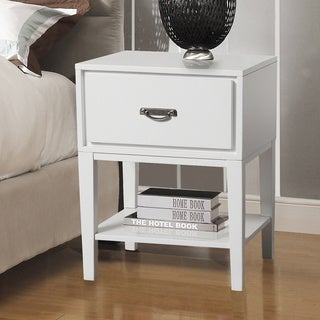 Neo Rectangle White Accent Table Nightstand