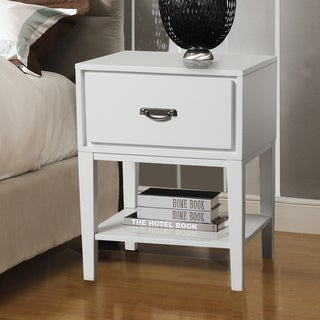 TRIBECCA HOME Neo Rectangle White Accent Table Nightstand