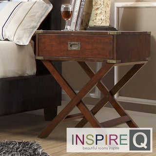 TRIBECCA HOME Neo Espresso Accent Table with X Leg Nightstand