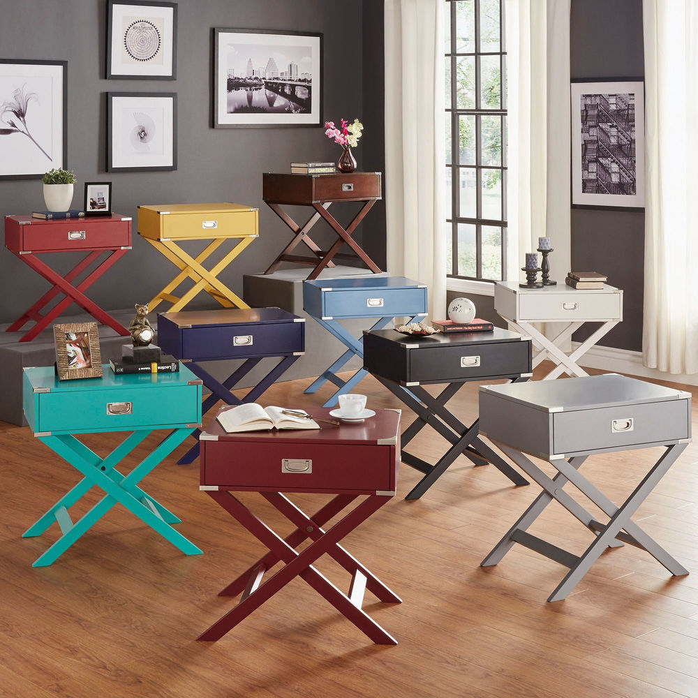 Kenton X Base Wood Accent Campaign Table by iNSPIRE Q Bold 1-drawer