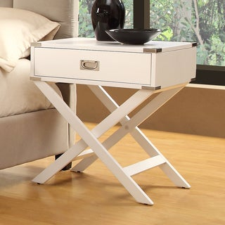 TRIBECCA HOME Neo White Accent Table with X Leg Nightstand