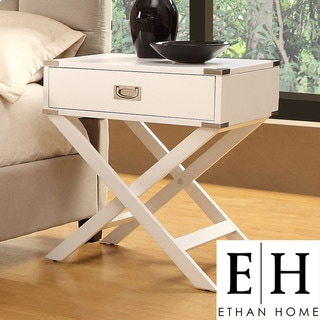 ETHAN HOME Neo White Accent Table with X Leg Nightstand