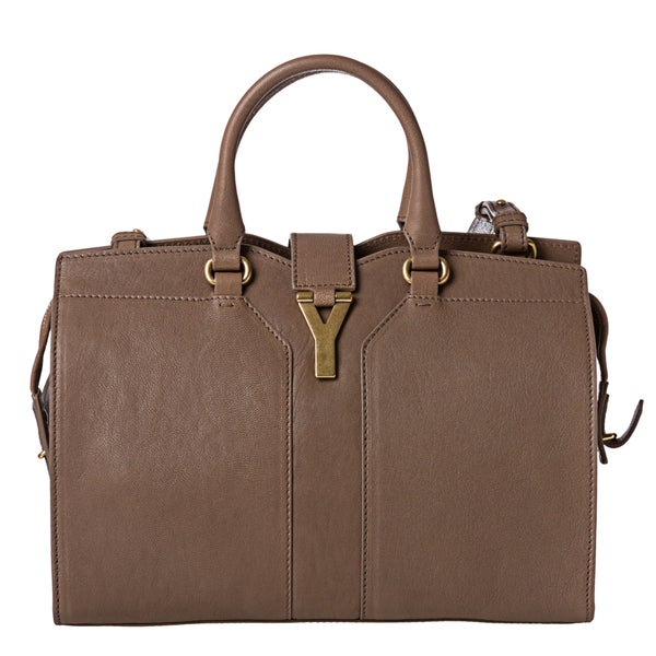 Yves Saint Laurent 'Cabas Chyc' Mini Taupe Leather Tote Bag