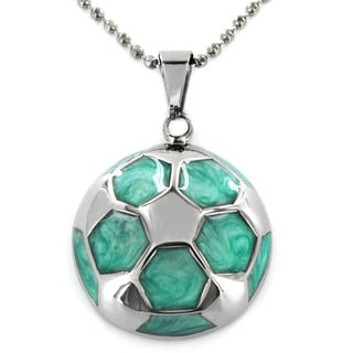 Stainless Steel Aquamarine Hexagon Patterned Necklace