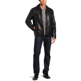 Tommy Hilfiger Men's Black Lamb Leather Jacket