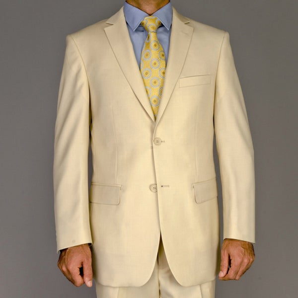 Men's Solid Beige Wool 2-Button Suit