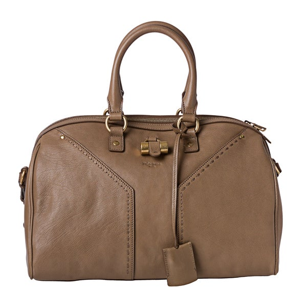 Yves Saint Laurent 'Muse' Taupe Leather Bowler Bag