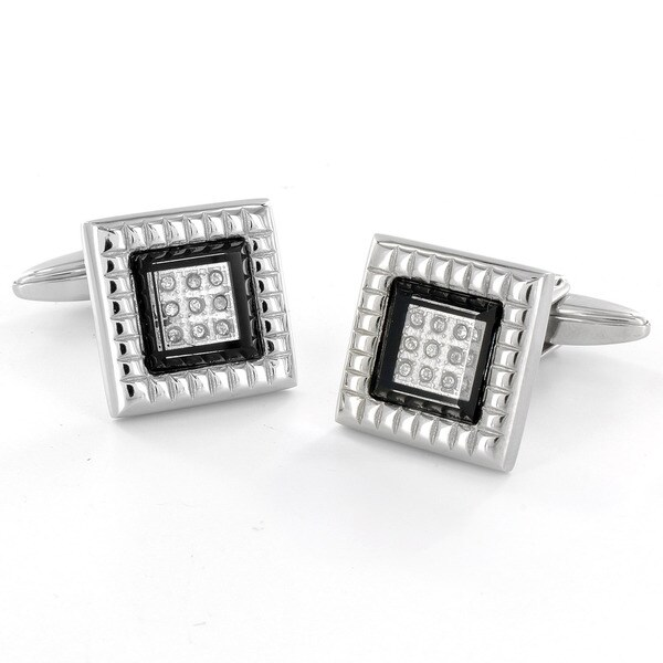 Crucible Stainless Steel CZ Black Enamel Cuff Links