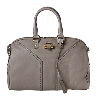 Yves Saint Laurent 'Muse' Light Grey Leather Bowler Bag