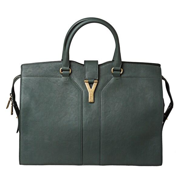 Yves Saint Laurent \u0026#39;Cabas Chyc\u0026#39; Large Hunter Green Leather Tote ...