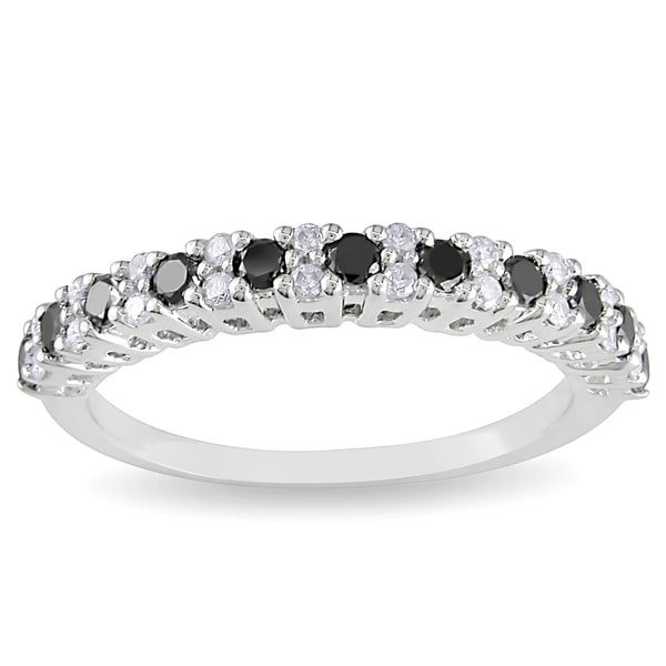 Miadora 14k White Gold 1/2ct TDW Black and White Diamond Ring (H-I, I2-I3)