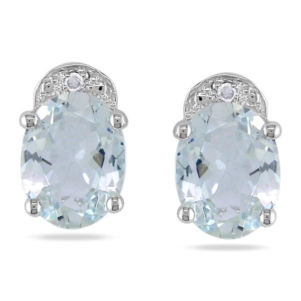 Miadora 14k White Gold Aquamarine and Diamond Earrings (H-I, I2-I3)
