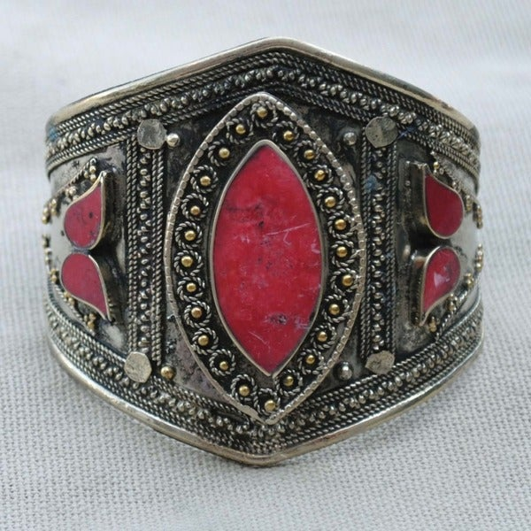 Handcrafted Tribal Lapis Lazuli Cuff Bracelet (Afghanistan)