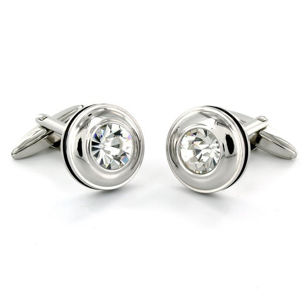 Crucible Stainless Steel CZ Black Trim Cuff Links