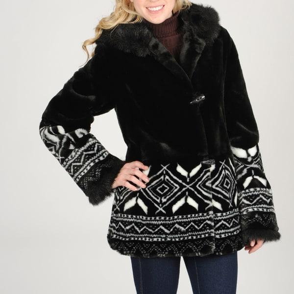 Nuage Women's Snowflake Detail Faux Fur Coat