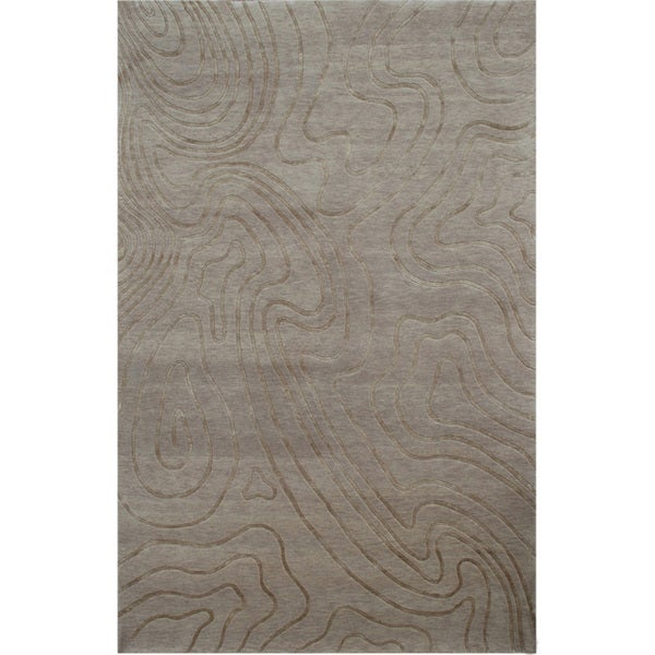 Hand-knotted Abstract Natural Beige Wool/ Art-silk Rug (5'6 x 8'6)