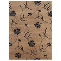 Hand-knotted Floral Tan Wool/ Art-silk Rug (3'6 x 5'6)