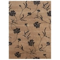 Hand-knotted Floral Tan Wool/ Art-silk Rug (9'6 x 13'6)