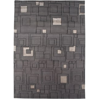 Hand-knotted Geometric Medium Grey Wool/ Art-silk Rug (9'6 x 13'6)